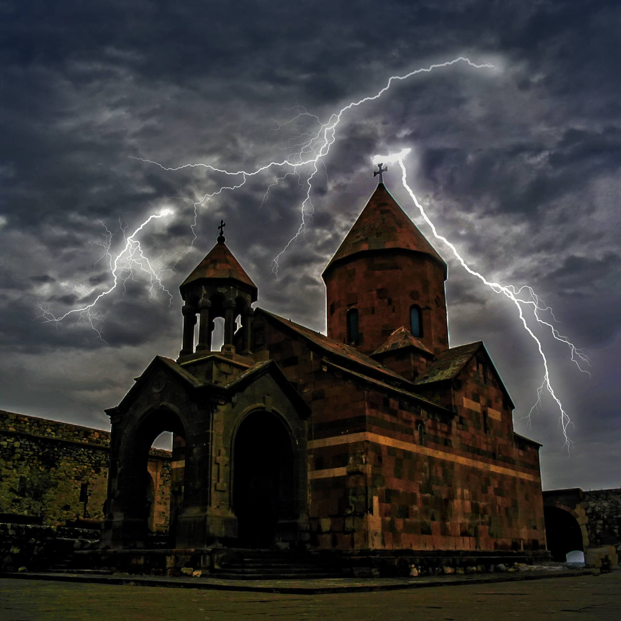 A,Storm,With,Lightning,Over,Ararat,Valley,,Church,Of,The